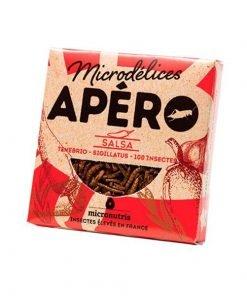 Snack de gusanos y grillos sabor salsa micronutris